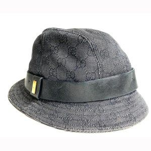""" Gucci Monogram Charcoal Black Denim Bucket Hat"
